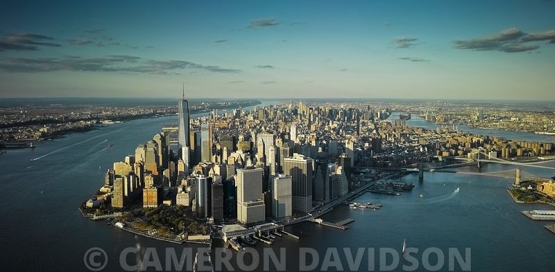 Panoramic aerial photograph of the Lower Manhattan
