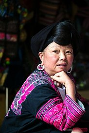 Portrait of yao long hair ethnic minority woman, China