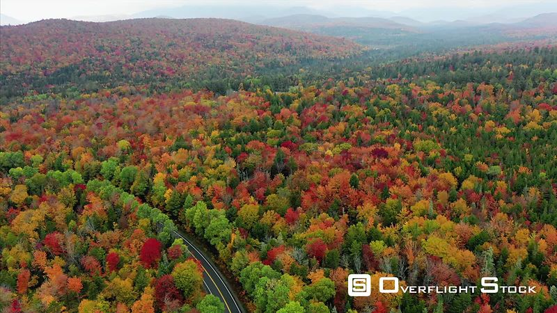 Winding Road through Brilliant Autumn Colors. Adirondacks New York