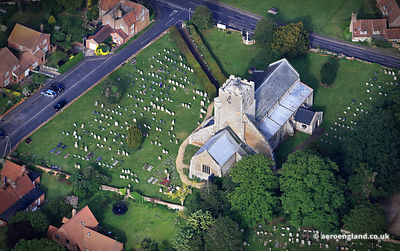 aerial photograph of St Mary's church, Heacham, Norfolk UK