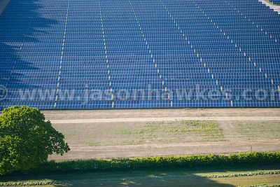 Aerial view of Solar Farm near Litcham, Norfolk, United Kingdom