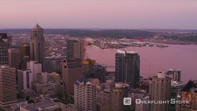 Seattle, Washington Aerial view of Seattle at dawn.  Shot with Cineflex and RED EpicW Helium.