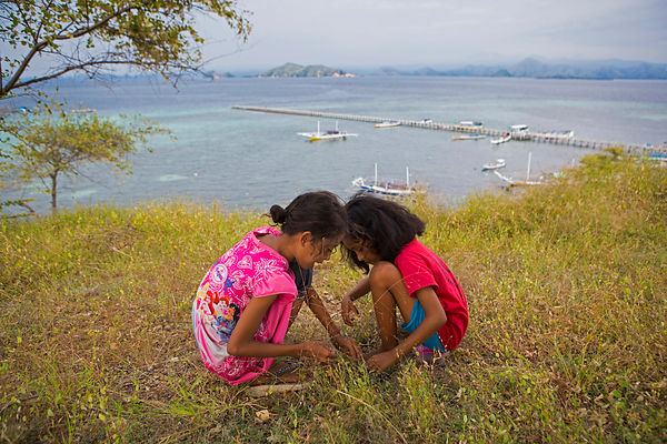 Nabila, 11 ans et son amie Sakina, 11 ans cherche des grillons, Pulau Messah, Flores, Indonésie / Nabila, 11 years old and her friend Sakina, 11 years old looking for crickets, Pulau Messah, Flores, Indonesia
