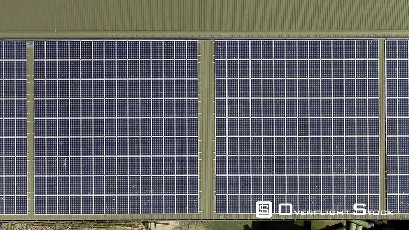 Large arrary of rooftop solar panels. UK