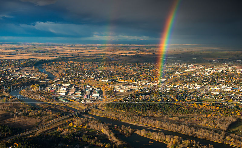 Rainbows over Red Deer, Alberta
