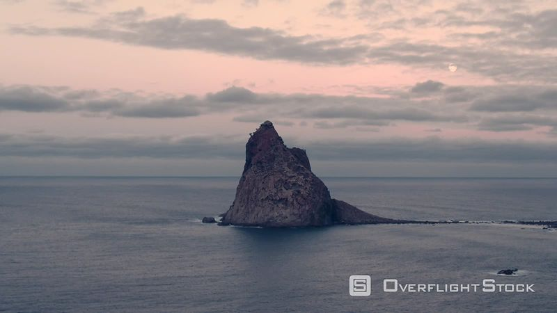 Roques de Anaga and Roque de Fuera, further North point of Tenerife, filmed by drone, Canary Islands