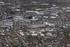 Bury aerial photograph looking across from Heywood Street towards the Town Centre and the Rock Shopping Centre and the Woodfield Retail Park