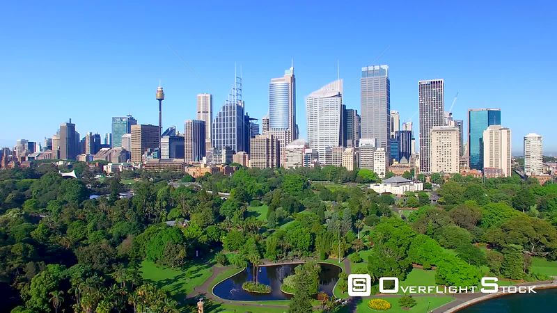 Beautiful aerial view of Sydney skyline from Royal Botanic Garden, Australia