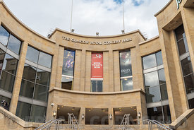 GLASGOW, SCOTLAND - SEPTEMBER 17, 2018: The Glasgow Royal Concert Hall facade at the northern end of Buchanan Street in Glasgow.