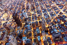 Overhead aerial of  downtown at night, San Francisco, USA