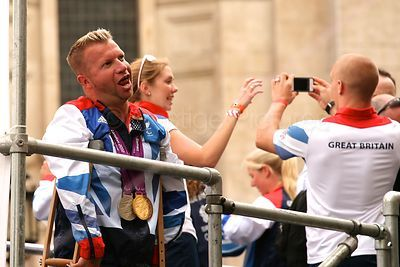 Equestrian Star Lee Pearson Clowning around During the Athletes Parade Through London