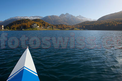 Skiff St.Moritz Lake Autumn photos