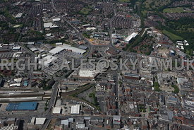 Bolton aerial photograph looking down Trinity Street towards Hargreaves House and the Retail Parks on Trinity Street and Blackhorse Street