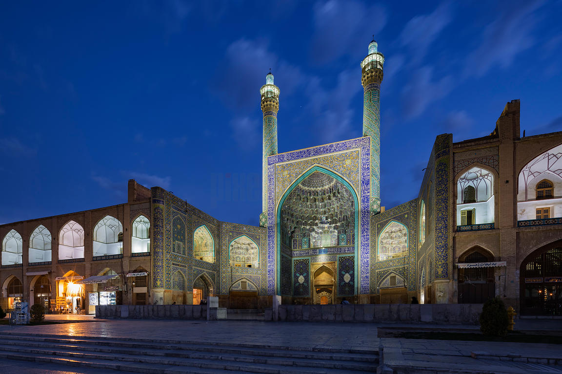 Facade of the Imam Mosque at Dusk