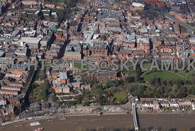 Chester high level view of the Roman Amphitheatre and the Church of St John the Baptist Grosvenor Park with Chester in the background