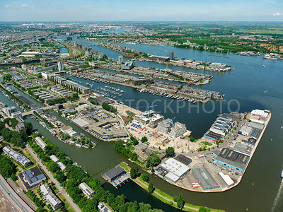 The Eastern Docklands (Oostelijk Havengebied) showing the residential enclaves Rietlanden, Sporenburg, the KNSM island, the Java-Island, Borneo Island and Entrepot,  Zeeburg, Amsterdam, Netherlands