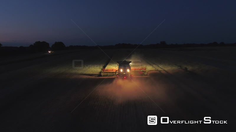 Drone Video of Night Time Rapeseed Harvest UK.