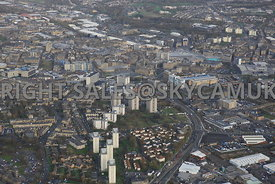 Bradford aerial photograph of A641 Manchester Road looking towards Bradford city centre and the new Westfield Broadway shopping centre