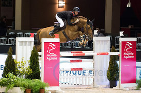 Bordeaux, France, 2.2.2018, Sport, Reitsport, Jumping International de Bordeaux - Bordeaux Young Sires Masters by SELLE FRANCAIS. Bild zeigt Alexis DEROUBAIX (FRA) riding Bornthis Way Chapelle (YH)...2/02/18, Bordeaux, France, Sport, Equestrian sport Jumping International de Bordeaux - Bordeaux Young Sires Masters by SELLE FRANCAIS. Image shows Alexis DEROUBAIX (FRA) riding Bornthis Way Chapelle (YH).
