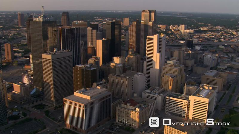 Late afternoon flight over downtown Dallas, Texas