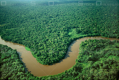Brazil, Para, river winding in tropical rainforest.