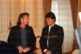 American actor Sean Penn with Bolivian president Evo Morales at the Presidential Palace, La Paz, Bolivia