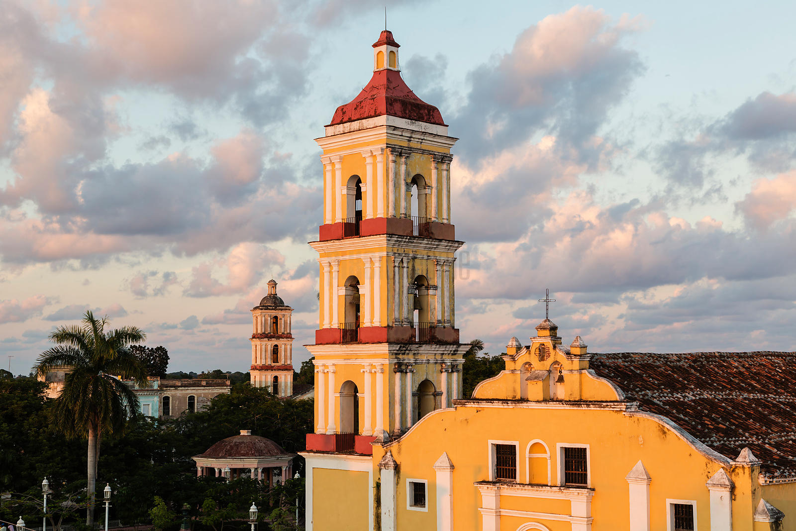Elevated View of Iglesia Mayor San Juan Bautista in the Main Square at Dusk