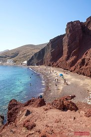 Famous red beach in Santorini, Greece