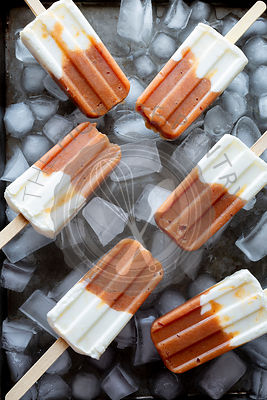 Roasted Peach and Yogurt Popsicle