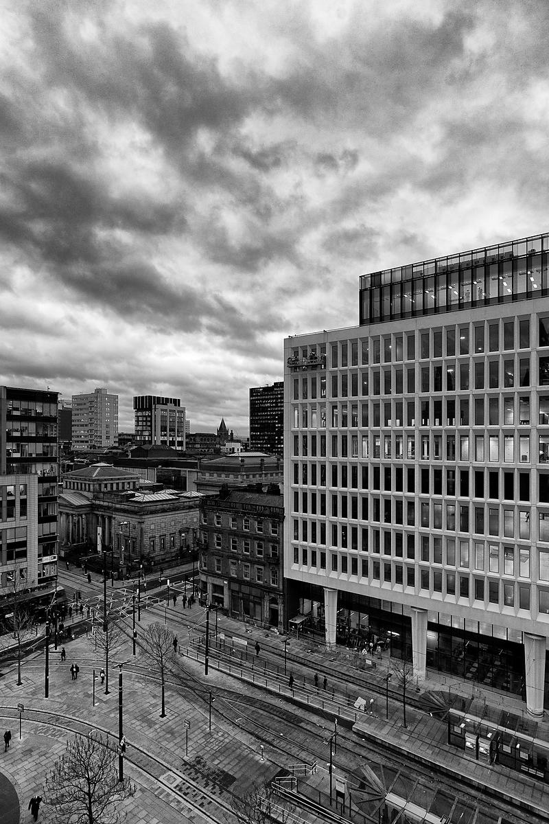 Cityscape | Canvas wall art | for sale | Manchester Blue hour - black and white