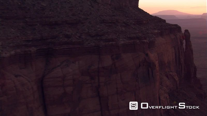 Twilight flight over Eagle Mesa to reveal Monument Valley