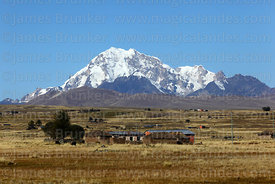 View across altiplano to west face of Mt Huayna Potosi, Cordillera Real, Bolivia