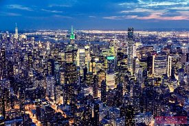 Aerial of Midtown Manhattan with Empire state building at dusk, New York, USA