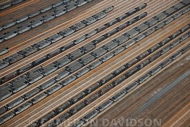 Aerial photograph of coal train yard at the Newport News port on the James River.