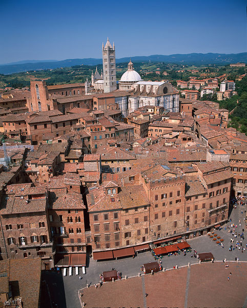 Looking down towards the Duomo and Bell Tower from the Town Hall, Siena, Tuscany, Italy