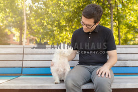 man on bench with white dog