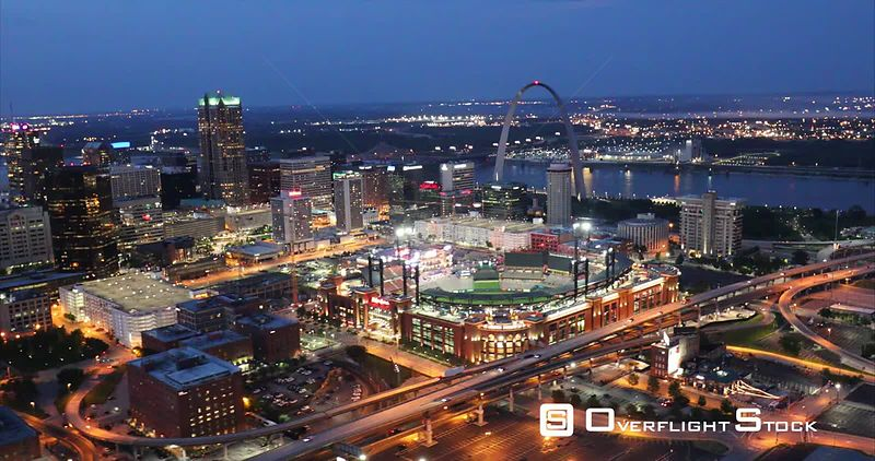 Night View of Busch Stadium and Gateway Arch St Louis Missouri