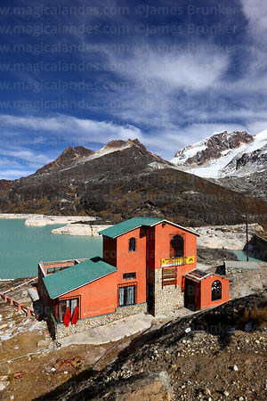 Refuge and reservoir at base of Mt Huayna Potosí, Cordillera Real, Bolivia