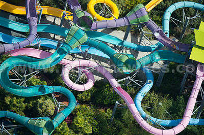 One of the newer rides at Aquatica Orlando, Omaka Rocka features huge funnels to speed down.