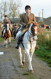Martin Reason leaving the meet - The Cottesmore Hunt at the kennels 21/10