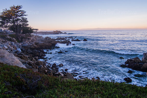 The rocky coast with the pacific ocean kissing the shores