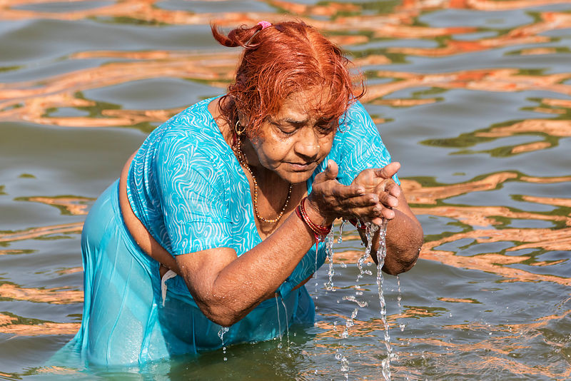Portrait of a Woman Taking a Holy Dip in the Shipra River