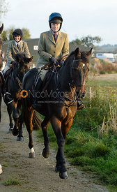 Roxanne Daley leaving the meet - The Cottesmore Hunt at the kennels 21/10