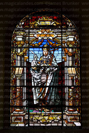 Stained glass window with image of Pope Pius X in cathedral, La Paz, Bolivia