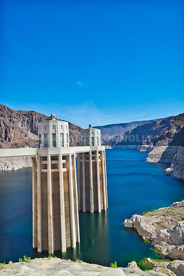 Water Intakes & High Water Line At Hoover Dam