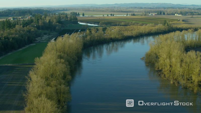 Aerial view of Willamette River and farm land near Dayton, Oregon