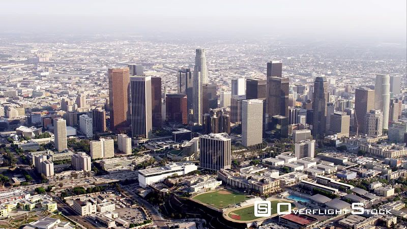 Ws Aerial View Of Downtown Los Angeles, RED R3D 4k California