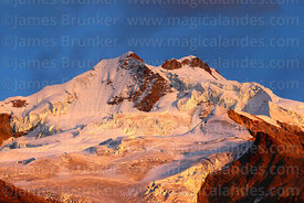 Glaciers of Mt Huayna Potosí at sunrise, Cordillera Real, Bolivia