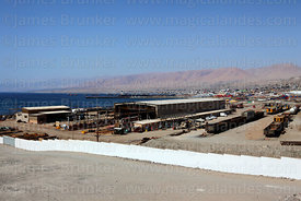 View over railway yard in port of Ilo, Peru