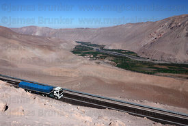 Truck descending to Lluta valley on Ruta / Highway 11, Region XV , Chile